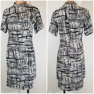 ASOS geometric b&w bodycon stretchy dress 4